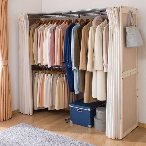 伸縮式ハンガー(パイン天然木製)/目隠し用カーテン付き