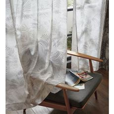 ボイルカーテン(自然な風合い・シダ柄)