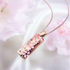 桜彫りダイヤモンド&ピンクサファイア