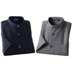 近江ちぢみスタンド衿5分袖シャツ