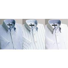 形態安定夏に快適半袖ワイシャツ(色違い3枚組)