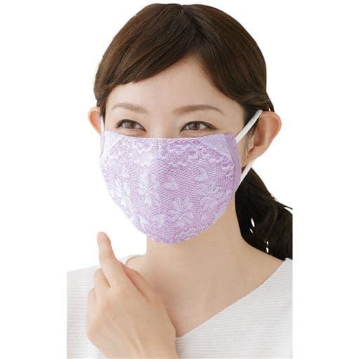綿混おしゃれなフラワーマスク(同色3枚入)