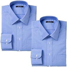 形態安定カラービジネスシャツ(長袖2枚組)
