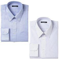 先染め形態安定ビジネスシャツ(長袖2枚組)