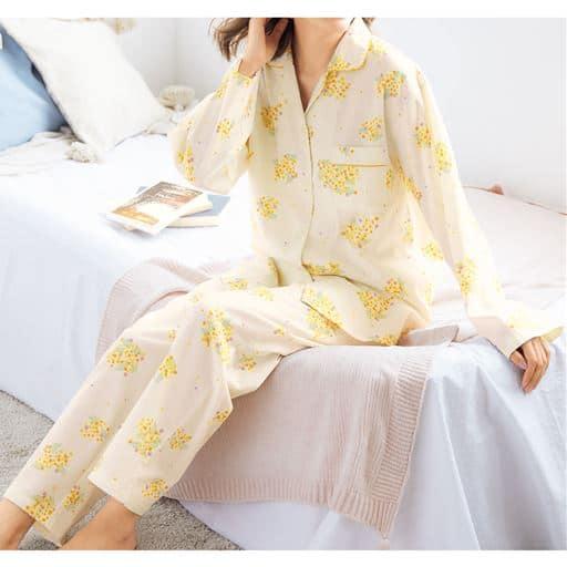 プリント柄がかわいい!ゆったりビエラシャツパジャマ