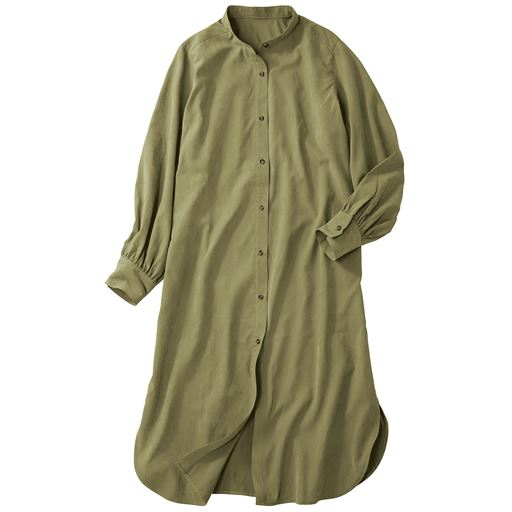 バンドカラー ロングチュニックシャツ(ヴィンテージツイル素材・洗濯機OK)