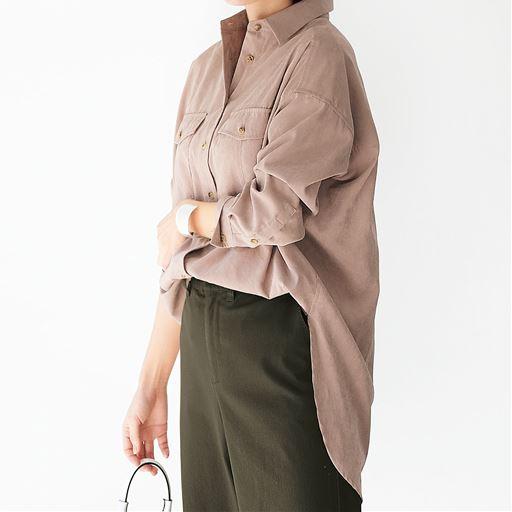 ポケットデザイン ボリュームシャツ(ヴィンテージツイル素材・洗濯機OK)