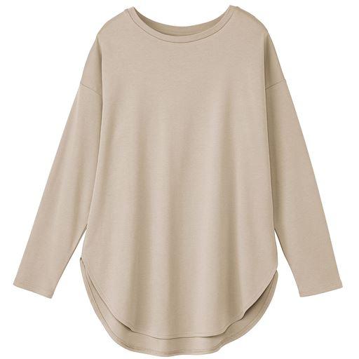 セミシルケットラウンドヘム長袖Tシャツ/シルクのような肌ざわり(綿100%)