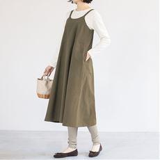 綿100%大人のサロペットスカート(洗濯機OK)