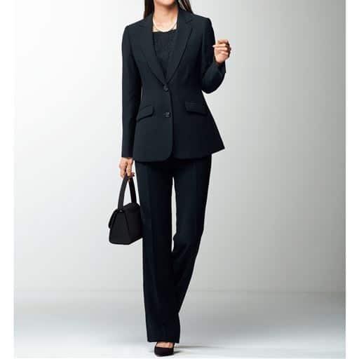 ブラックフォーマルスーツ(ジャケット+パンツ)(リバーシブル胸当て付き)(洗濯機OK)