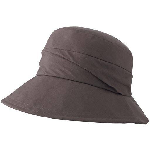 UVつば広ギャザークロッシェハット(多機能)(帽子)