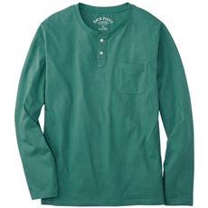 綿100%ヘンリーネックTシャツ(長袖)/オーガニックコットン使用素材