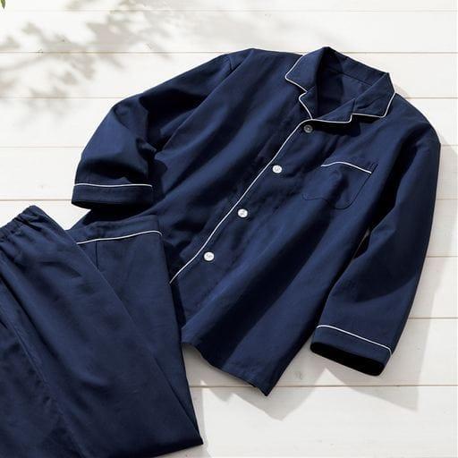 綿100%サテンシャツパジャマ(男女兼用)