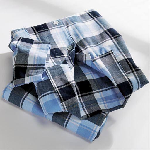 綿100%ビエラシャツパジャマ(男女兼用)