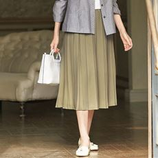 カットソープリーツスカート(ウエスト総ゴム・洗濯機OK)