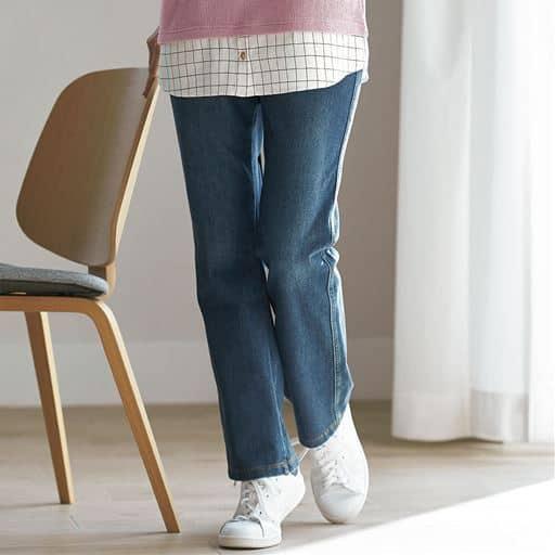 ニットデニムストレートパンツ(スマートニットジーンズ)(選べる4レングス・洗濯機OK)