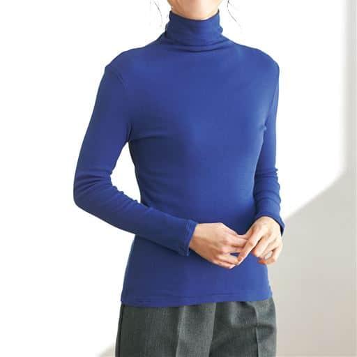 タートルネック10分袖カットソー(綿100% シフォン調素材)
