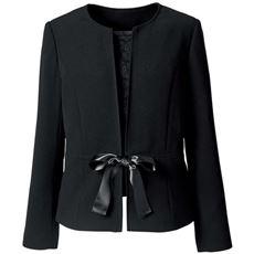 【ぽっちゃりさんサイズ】ノーカラージャケット(胸当て・リボン・ボタン付き)(ブラックフォーマル)