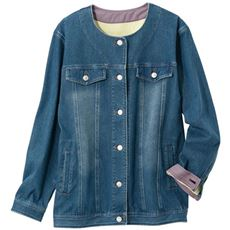 【ぽっちゃりさんサイズ】ニットデニムロングジャケット