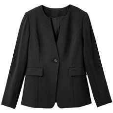 【ぽっちゃりさんサイズ】キーネックジャケット(吸汗速乾・UVカット・防しわ機能・洗濯機OK)