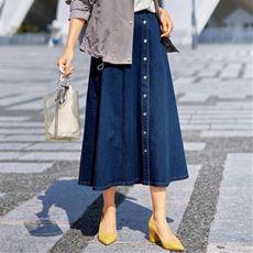 【ぽっちゃりさんサイズ】デニムフレアスカート