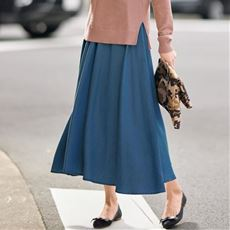 【ぽっちゃりさんサイズ】とろみデニムスカート