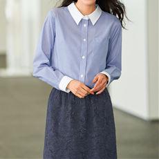 【ぽっちゃりさんサイズ】形態安定レギュラーカラーシャツ(長袖)(UVカット・抗菌防臭) グラマー用サイズ有(胸サイズで選ぶ)