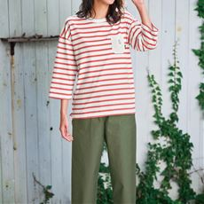 【ぽっちゃりさんサイズ】Moz ゆるシルエットボーダーTシャツ(7分袖)(綿100%)