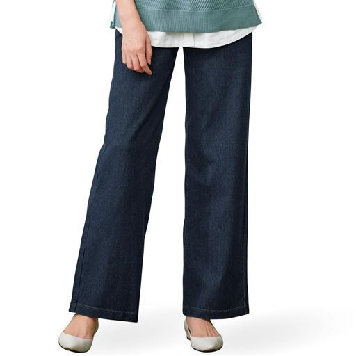 【ぽっちゃりさんサイズ】ニットデニムワイドパンツ(スマートニットジーンズ)(美脚パンツ・選べる2レングス)