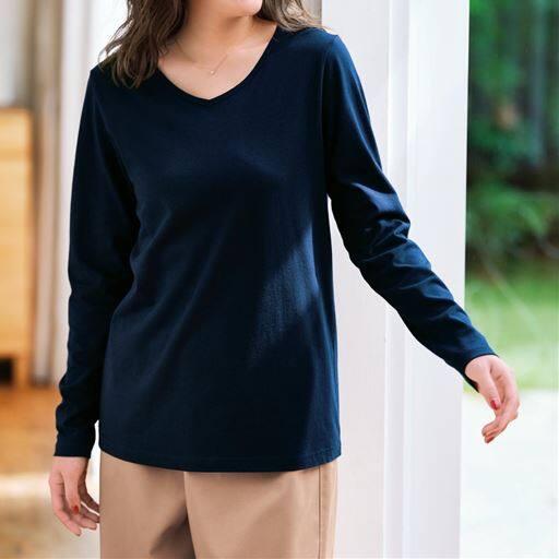 シンプルVネックTシャツ(長袖・綿100%)