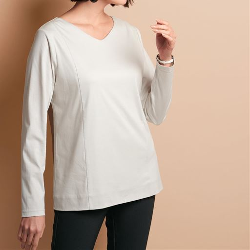 【ぽっちゃりさんサイズ】2枚仕立てVネックTシャツ(長袖)