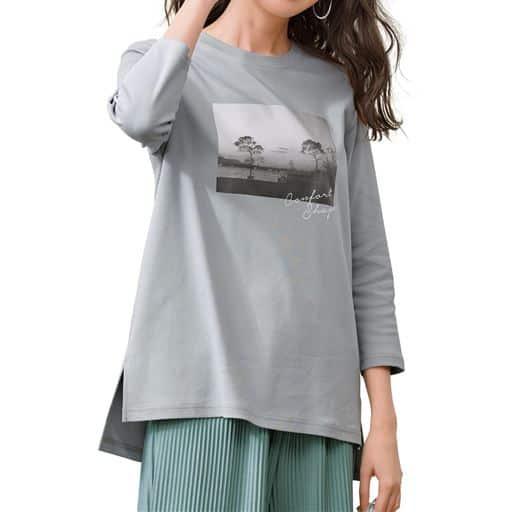 フォトプリント7分袖Tシャツ(綿100%)