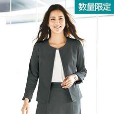 ノーカラージャケット(事務服・カットソー素材)/スーツなのに動きやすい