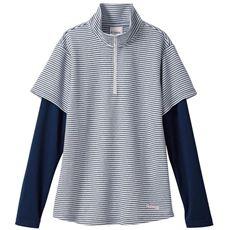 フェイクレイヤードTシャツ(kaepa・スポーツ)(吸汗速乾・UVカット)(裏メッシュ仕立て)