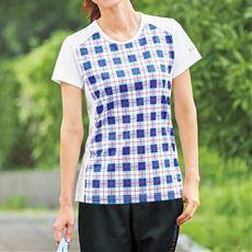 チェック切替Tシャツ(ELLE SPORT)(吸汗速乾・スポーツ)(肌離れのよいワッフル素材)