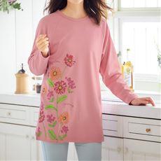 綿100%ゆったりTシャツ(チュニック丈)