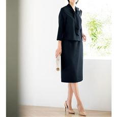 セットアップスーツ(ブラウス+スカート)(ブローチ付き・卒業式・入学式)