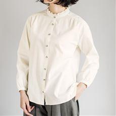 綿100%フリル衿ブラウス(スタンドカラー)(洗濯機OK)