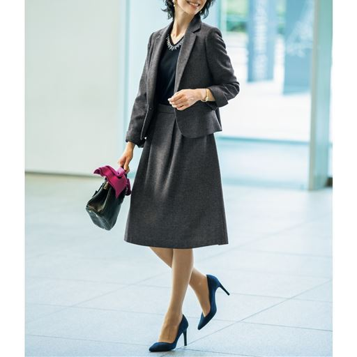 スカートスーツ(洗濯機OK)/テーラードジャケット+タックフレアスカート