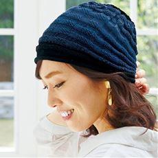 洗えるシルク混グラデーション帽子(市松編み)
