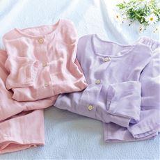 二重ガーゼノーカラーパジャマ(綿100%・日本製)