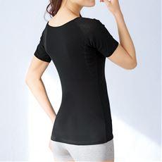 大きな汗取りパッド付き3分袖インナー(背中二重)(綿100%・爆汗さん®)(吸汗速乾)