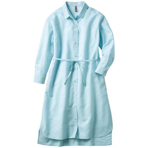コットンリネン ロングシャツ/テンセル™繊維(フレンチリネン・リボンベルト付き・接触冷感・UVケア・洗濯機OK)