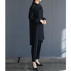 ブラックフォーマル セットアップスーツ(チュニック+パンツ)(手洗いOK)/ゆったりシルエット