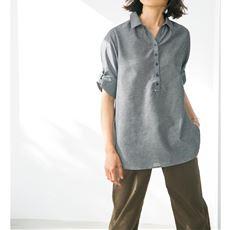 コットンリネン シャツチュニック/テンセル™繊維(フレンチリネン・接触冷感・UVケア・洗濯機OK)