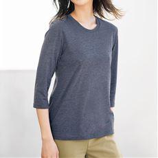 シンプルクルーネックTシャツ(七分袖)(S~6L・洗濯機OK)