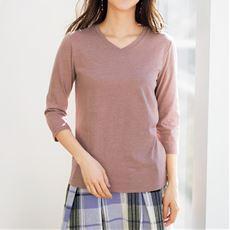 シンプルVネックTシャツ(七分袖)(S~6L・洗濯機OK)