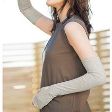 日差し対策 ちょっと長めの指切りコットンUV手袋(綿100%・滑り止め付き)
