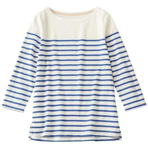 ボートネックボーダーTシャツ(七分袖)(S~5L・洗濯機OK)