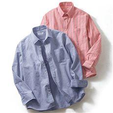 ドライ・表面変化ストライプ柄シャツ(長袖)